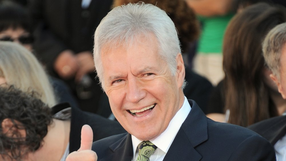 Jeopardy host Alex Trebek in Hollywood on 2015 at Christopher Plummer's hand and footprint ceremony
