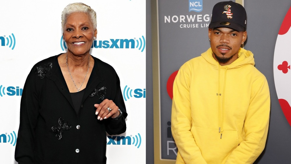 Dionne Warwick and Chance The Rapper posing in split image