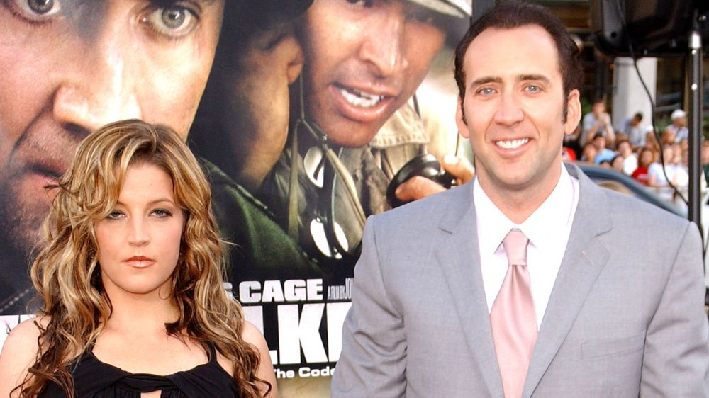 "Lisa Marie Presley and Nicolas Cage at the premiere of ""Windtalkers"""