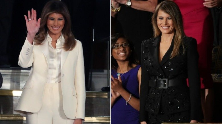 Melania Trump in a white pantsuit and black Marc Jacobs pantsuit