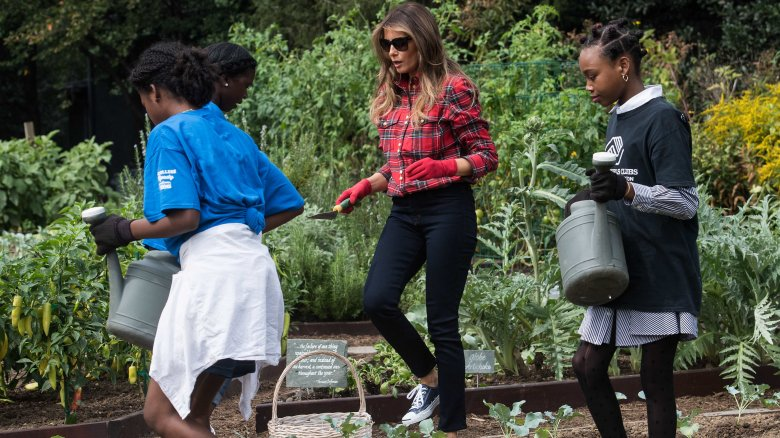 Melania Trump gardening with the Boys and Girls Club in September 2017