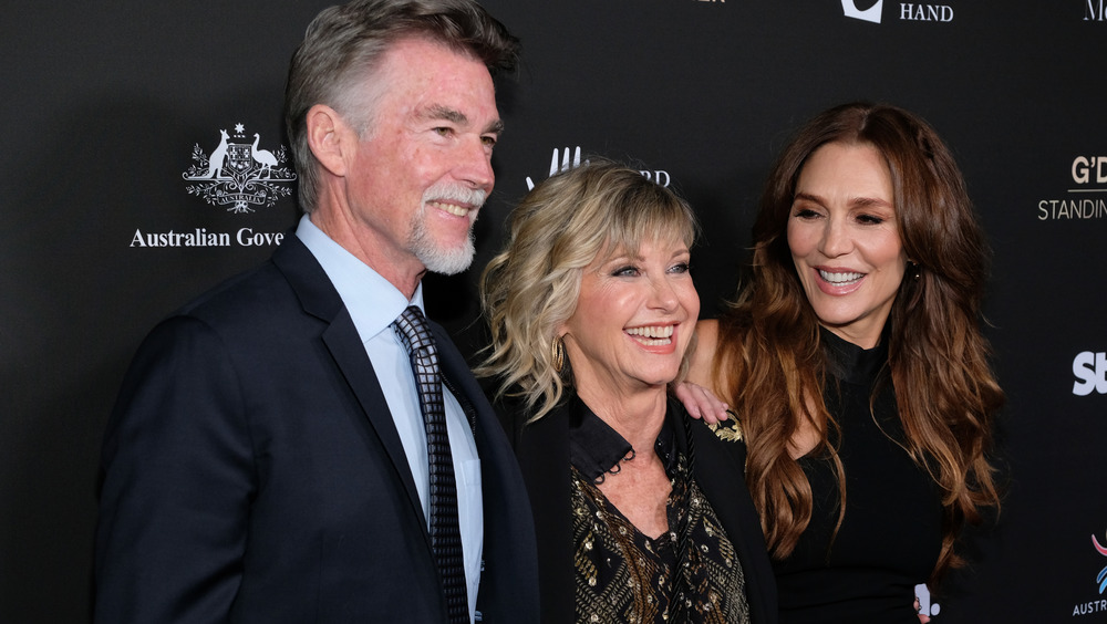 Olivia Newton-John on the red carpet with her family