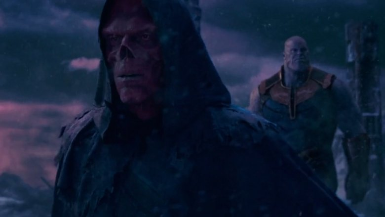 Ross Marquand as Red Skull and Josh Brolin as Thanos in Avengers: Infinity War