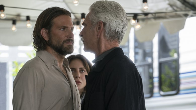 "Sam Elliott as Bobby Maine, Lady Gaga as Ally and Bradley Cooper as Jackson Maine in ""A Star Is Born"""