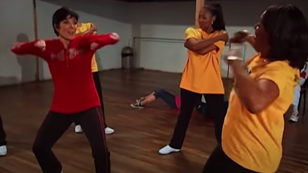 Kris Jenner dancing with the L.A. Sparks Ole Skool Dance Crew