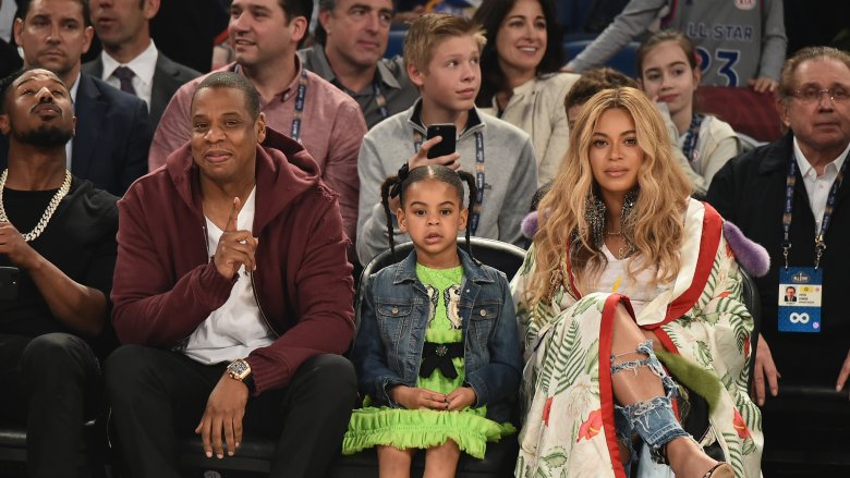 Beyoncé and Jay Z and Blue Ivy at Basketball Game