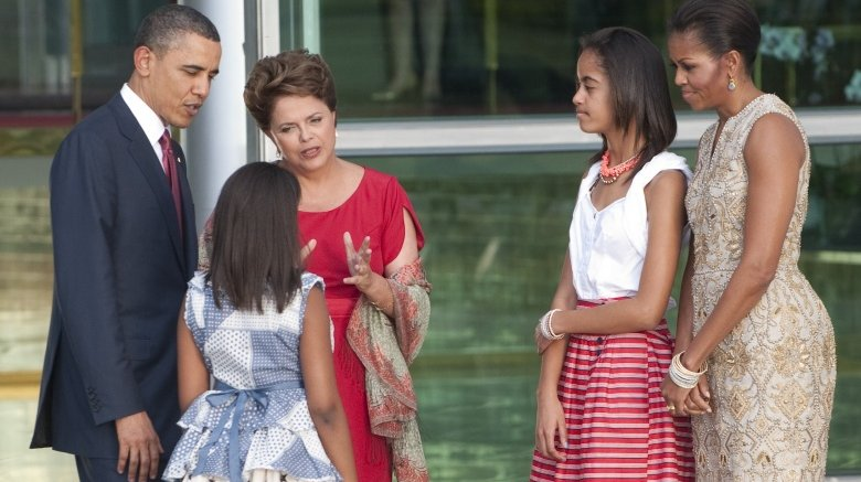 The Obama family with the president of Brazil in 2011