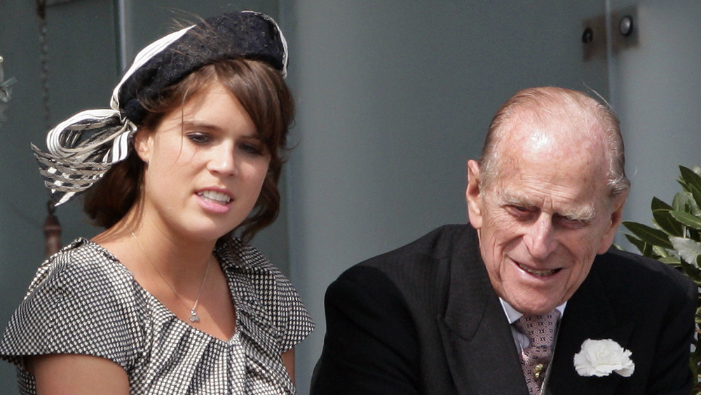 Princess Eugenie and Prince Philip at an event