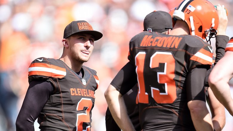 Johnny Manziel with Cleveland Browns teammates