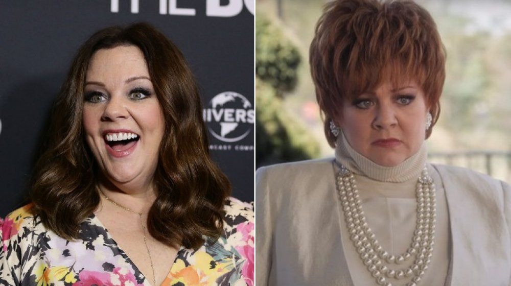 Split image of Melissa McCarthy smiling big at The Boss premiere, and as Michelle Darnell in The Boss