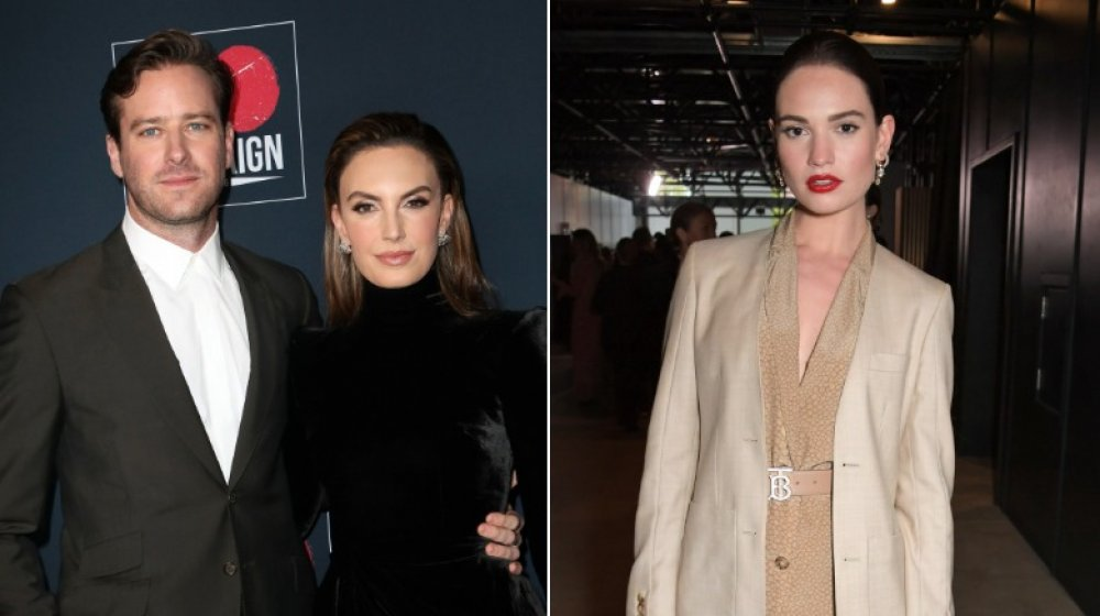 Split image of Armie Hammer, ex-wife Elizabeth Chambers, and Lily James