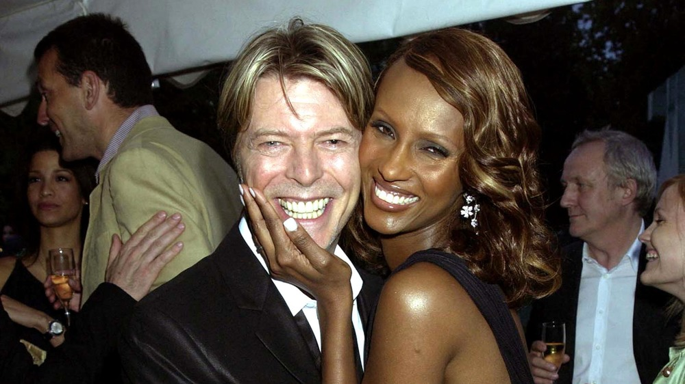 David Bowie and Iman smiling