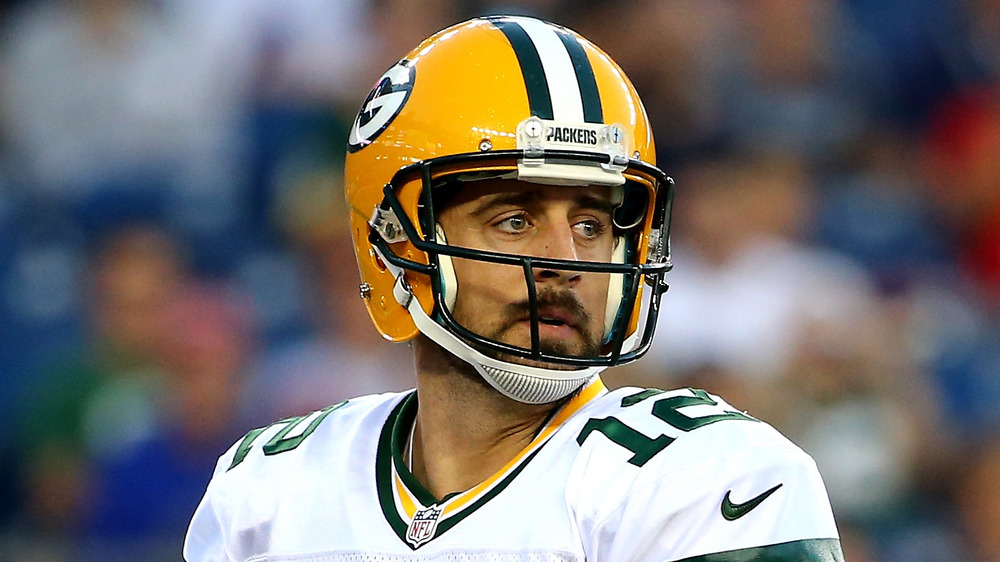 Aaron Rodgers looking intense on the field