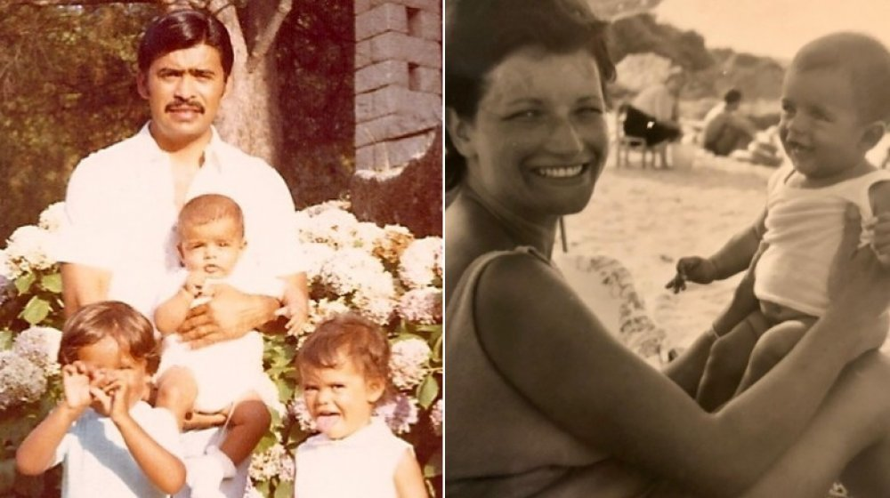 Mark Consuelos, his dad, and siblings; Mark Consuelos' mom and him as a baby
