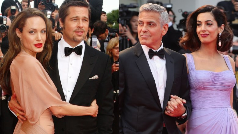 Angelina Jolie, Brad Pitt, George and Amal Clooney