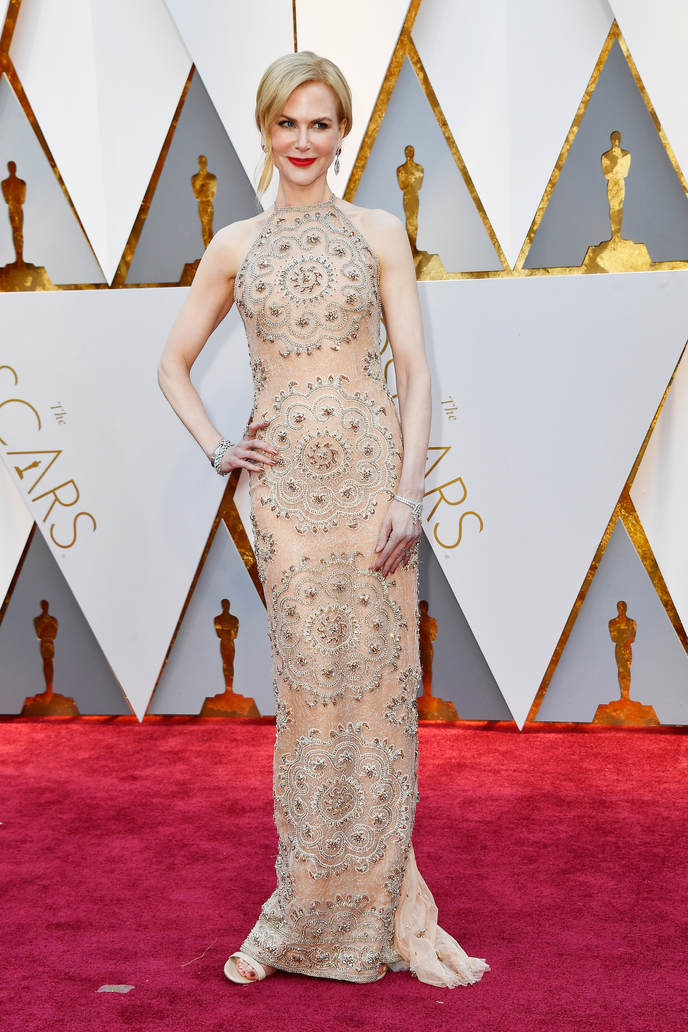 Nicole Kidman Stuns in Nude Embellished Gown and 119